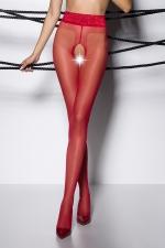 Collants ouverts TI001 - rouge : Collants ouverts à l'entre-jambes en voile rouge, avec une large ceinture dentelle.