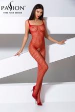 Combinaison BS071 - Rouge : Combinaison sexy en résille rouge à motifs géométriques, avec une belle ouverture intime du pubis jusqu'aux fesses.