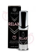 Gel anal relaxant Relax! - Secret Play : Gel relaxant spécialement créé pour la pratique du sexe anal. Dilate la zone anale et facilite la pénétration.