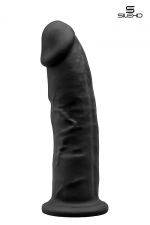 Gode double densité noir 23 cm - Modèle 2 : Gode réaliste noir de 22,5 x 5 cm, à double densité et mémoire de forme, en silexpan pour des sensations plus réelles.
