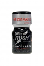 Poppers Super Rush Black Label 10 ml : Arôme liquide aphrodisiaque (flacon de 10 ml)à base de Nitrite de Penthyl (le plus fort), pour aromatiser votre pièce.