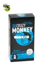 12 Préservatifs Crazy Monkey Fun & Friction : 12 préservatifs transparents dotés de picots et de nervures, pour accroitre les sensations de votre partenaire, marque Crazy Monkey.