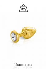 Plug bijou aluminium gold XS - Hidden Eden : Plug anal en aluminium doré d'une longueur de 5,9 cm et d'un diamètre moyen de 2,5 cm. Décoré d'un strass rond transparent.