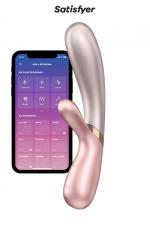 Rabbit chauffant Hot Lover rose beige - Satisfyer : Faites monter la température avec ce Rabbit de dernière génération chauffant, rechargeable, connecté, étanche et ergonomique !